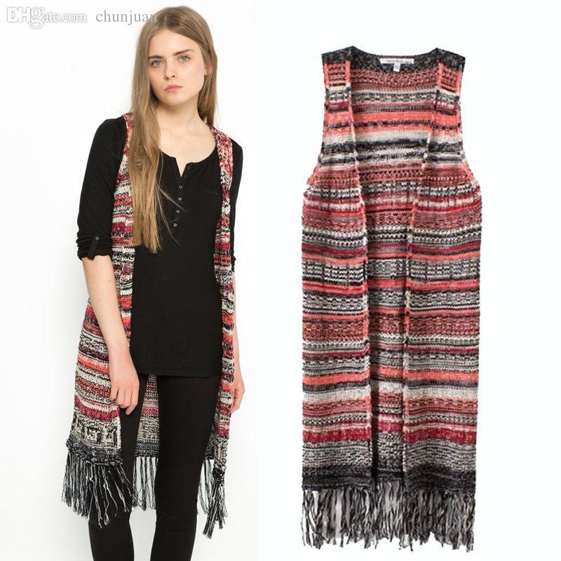 cd2fa05e68 2019 Wholesale Women Clothes 2015 Veste Femme Autumn Winter Colete Feminino  Tribal Fringe Knitted Vest Vintage Women Long Herringbone Vest From  Chunjuan