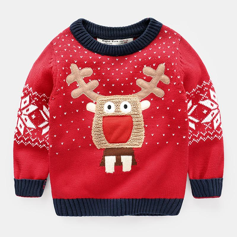 Boys Christmas Sweater Deer Red Girl Baby Kids Cartoon 2017 Spring ...