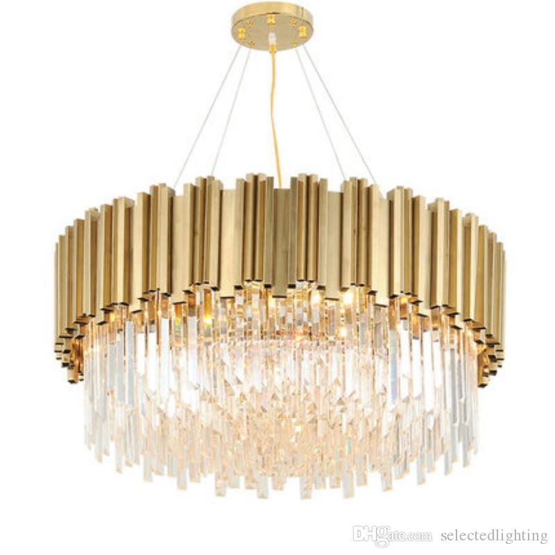 Luxury Post Modern Crystal Pendant Lamp K9 Crystal Stainless Steel