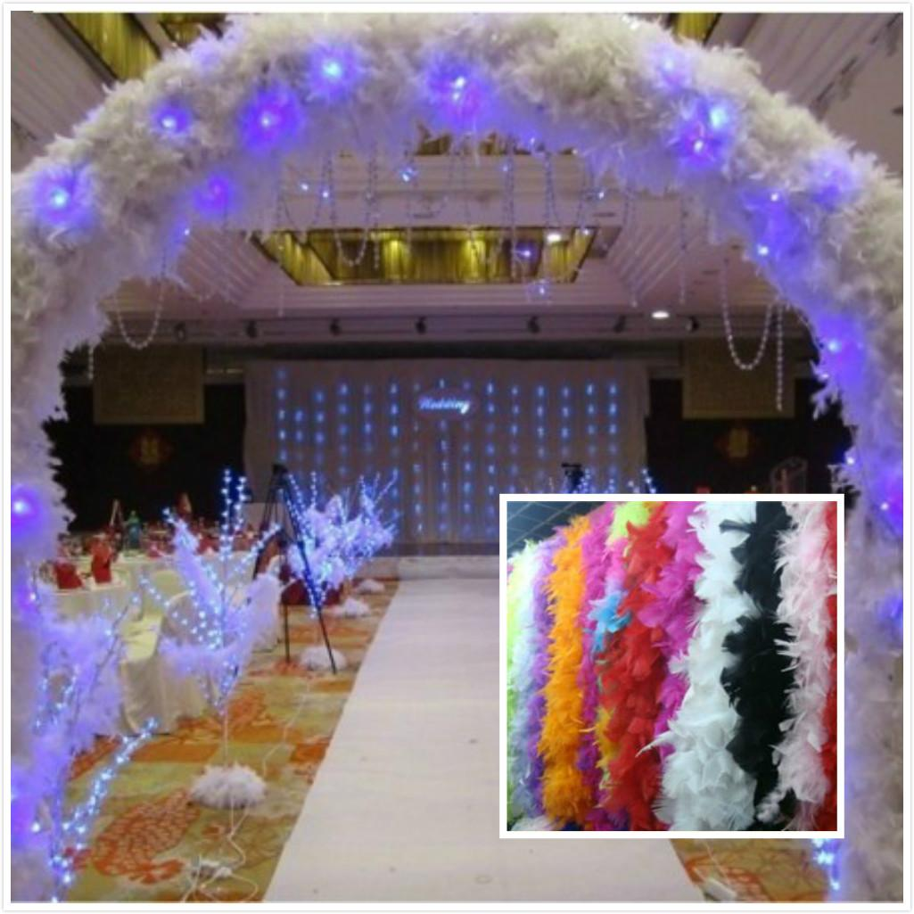 Wholesale Feather Wedding Decorations 2m Long Boa Fluffy Craft Costume Feather Plume Centerpiece For Wedding Party Decoration