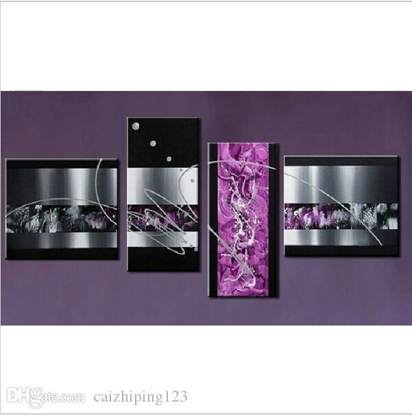 Purple Canvas Wall Art 2017 handmade black white purple contemporary abstract oil