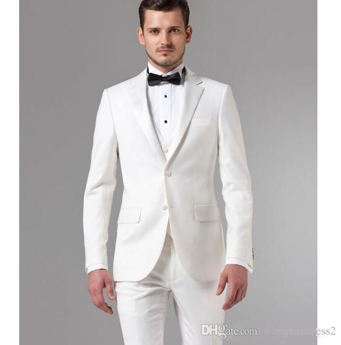 High Quality Custom Made White Wedding Suits Groom Tuxedos Notched Lapel Formal Handsome Business Groomsman Jacket Pants Vest Suit Tailcoat