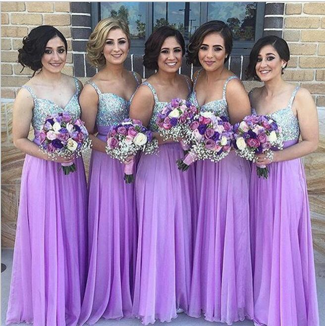 Beaded Straps V Neck A Line Ruffles Purple Bridesmaid Dresses Sexy Backless Floor Length Summer Beach Chiffon Gowns for Wedding Guest Gowns