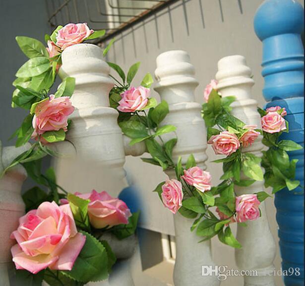 240cm Rose di seta finte Ivy Vine Fiori artificiali con foglie verdi la decorazione domestica di nozze Hanging Garland Decor