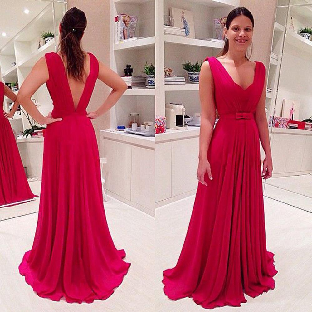 Großhandel Plus Size 2016 Elie Saab Prom Dresses Chiffon Red Fuschia ...