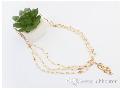 Mode Hochzeit Braut Haarschmuck für Frauen Metall Perlen Perle Kopf Kette Indisches Haar Schmuck Frauen Braut Crown Ornamente HT15