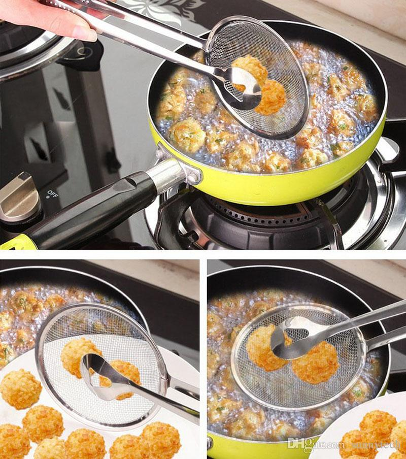 Food Tong Stainless Steel Strainer Kitchen Filter Mesh Spoon Fried Food Oil Strainer Clip ZA5403