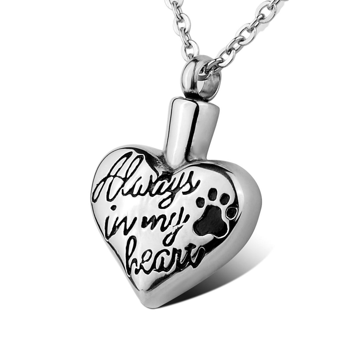"""Lily Cremation Jewelry """"Always in my heart"""" Puppy Dog Paw Pet Memorial Urn Pendant Necklace with gift bag and chain"""
