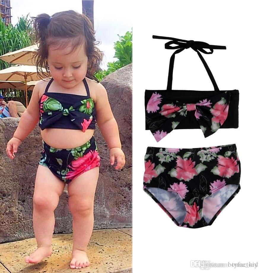 e162067a83e 2019 Summer Baby Girls Floral Swimwear Kids Two Pieces Bowknot Swimsuits  Bikini Bandage Swimsuit Bathing Suit Beach Wear Age 2 7T From Bonne_kid, ...