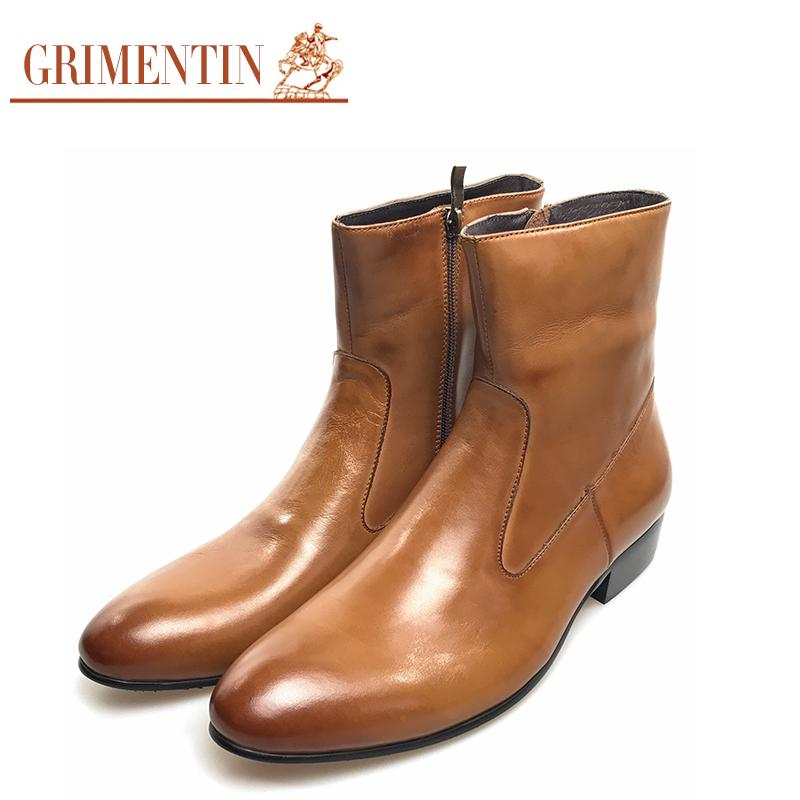 648534cff8d GRIMENTIN Cowboy Boots Men Leather Black Brown Pointed Toe Designer  Business Wedding Office Male Leather Ankle Boots Men Shoes Knee High Boots  Riding Boots ...