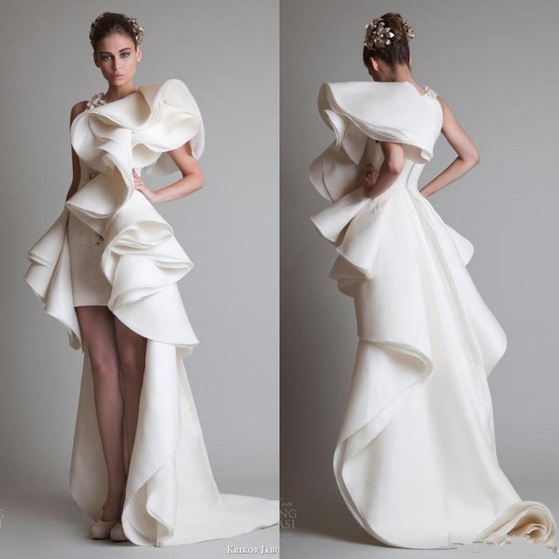 Super Fabulous Krikor Jabotian Luxury Ruffles High Low Silk Like Satin Evening Dresses Zipper Back Court Train 2017 Custom Made Women Gowns