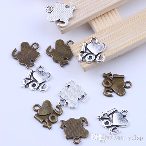 / Vintage Charmes J'aime U Antique bronze Pendentif Fit Bracelets Collier DIY En Métal Fabrication de Bijoux 2077c livraison gratuite