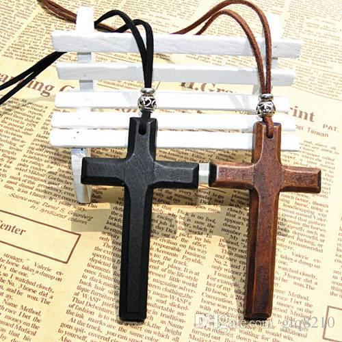 Weihnachten Geschenke Holz Kreuz Anhänger Halskette Vintage Tibetische Silber Perlen Leder Schnur Pullover Kette Männer Frauen Schmuck Handmade stilvolle 12 stücke