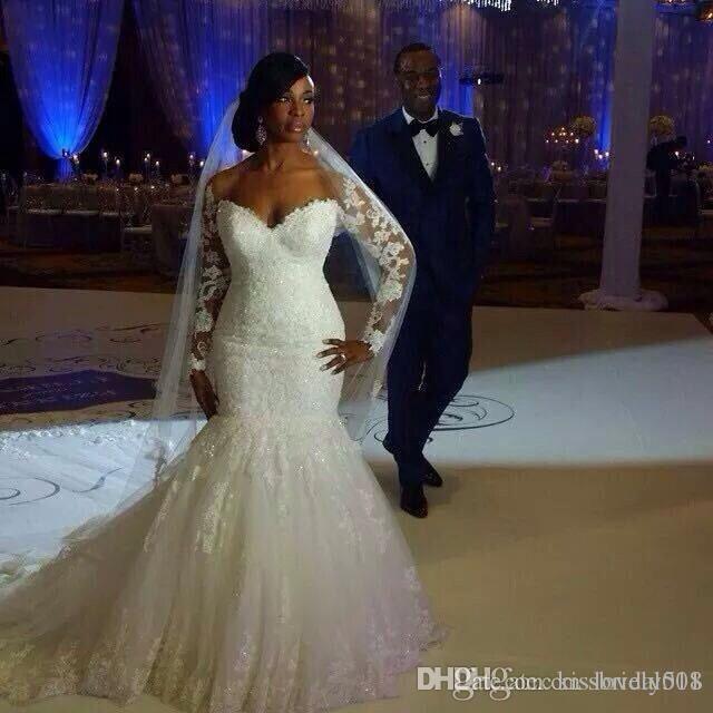 섹시한 웨딩 드레스 전체 레이스 긴 소매 플러스 머메이드 정식 신부 가운 레이스 위로 공식적인 긴 브러시 기차 웨딩 드레스