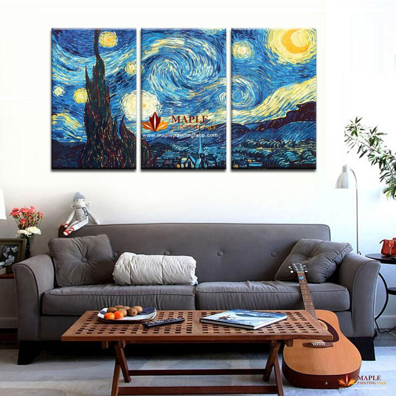 3 Piece Wall Canvas Masters Starry Night Vincent Van Gogh Prints Reputation Painting On Canvas Wall Art Picture For Lving Room