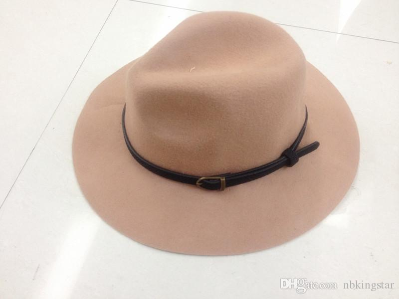 2a50a10e931 New Vintage Man S Belt Wide Brim 100%Wool Felt Hat Floppy Bowler Fedora Cap  For Woman UK 2019 From Nbkingstar
