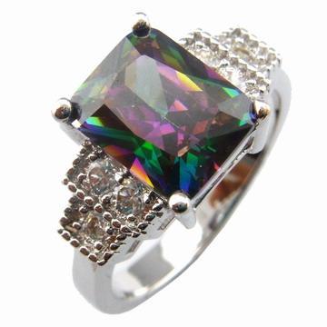 Bague de bijoux avec pierre arc-en-ciel mystique; bagues de mode R197D