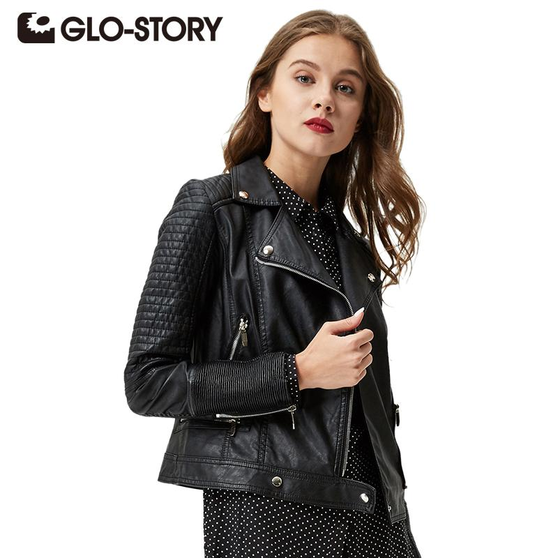 5293cb07ec6 Wholesale GLO STORY Women Jacket Leather 2017 Spring Women Clothing Casual  Coats Ladies Street Style Zipper PU Black Leather Jackets 3590 Vintage  Leather ...