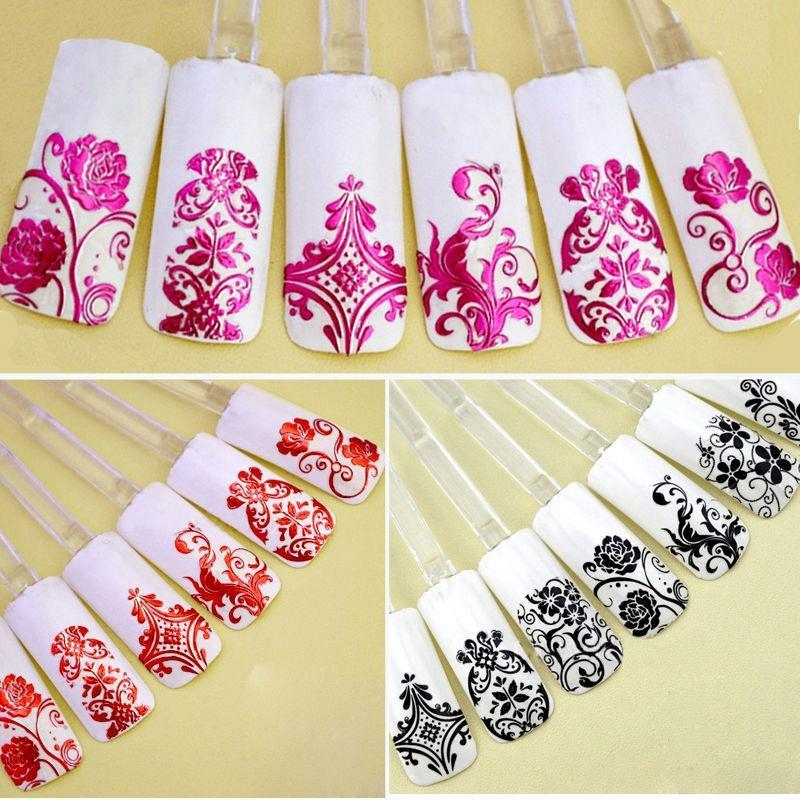 Top nail 108 design gold foil flowers stickers for nails metal see larger image prinsesfo Choice Image
