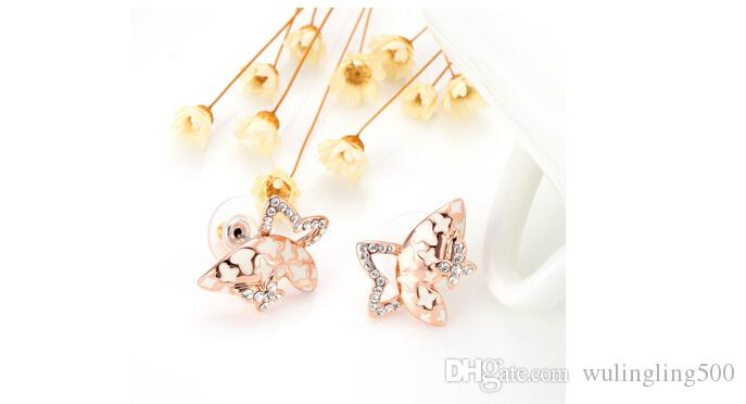 New Elegant Gold Plated Rhinestones Bow Butterfly Stud Earring For Women Dance/Party Accessories Elegant temperament