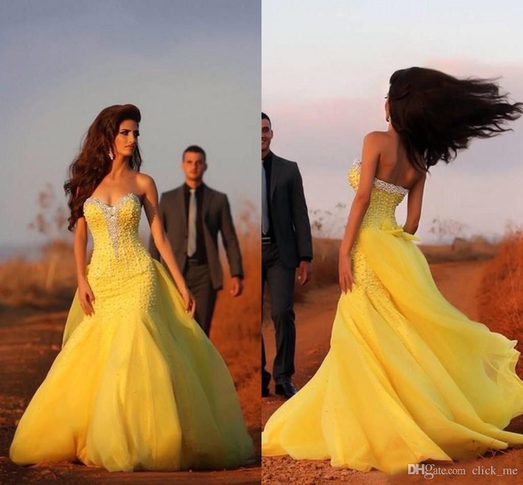 Yellow Mermaid Wedding Dresses 2015 Sweetheart Sequins Beads Watteau ...