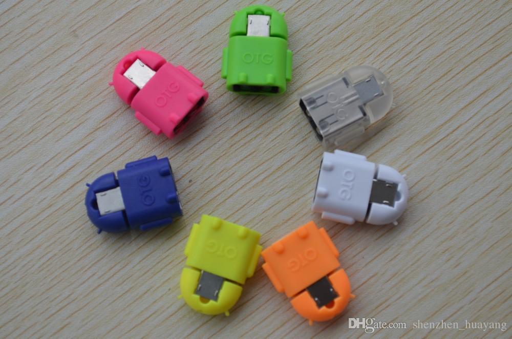 Moda Android Robot TV Kształt Micro USB do USB OTG Adapter do Android Tablet PC Smartphone Phablet z 8 kolorami Darmowa wysyłka dy