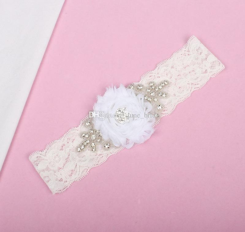 New Arrival Vintage White Flower Bridal Garters Sexy Crystal Beaded Bridal Wedding Lace Leg Garters Ready to Ship Sexy Bridal Accessories