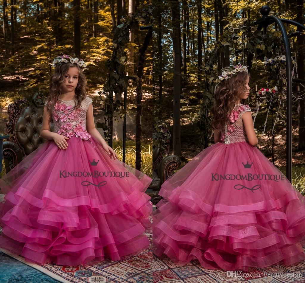 2018 Cute Fuchsia Short Sleeves Girl Pageant Dresses With Applique ...