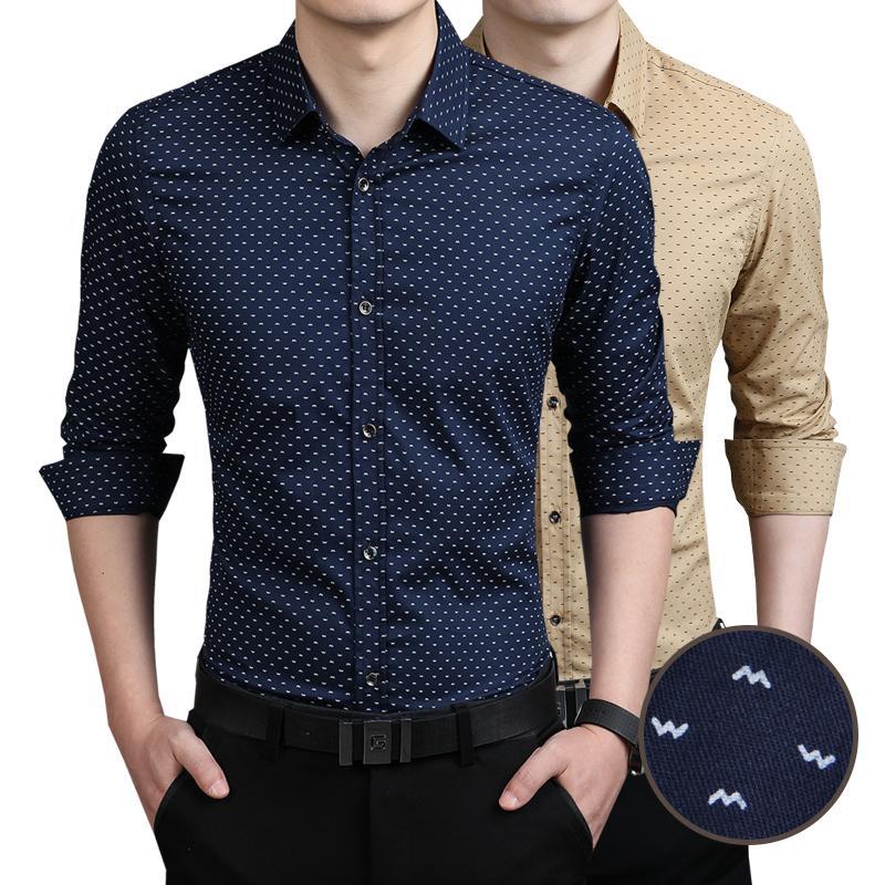 5027ab7a7 Compre Nova Moda Camisa Dos Homens De Roupas Masculinas Imprimir Slim Fit  Luxo Casual Elegante Camisas De Vestido 5 Cores 7 Tamanhos De Chenshuiping