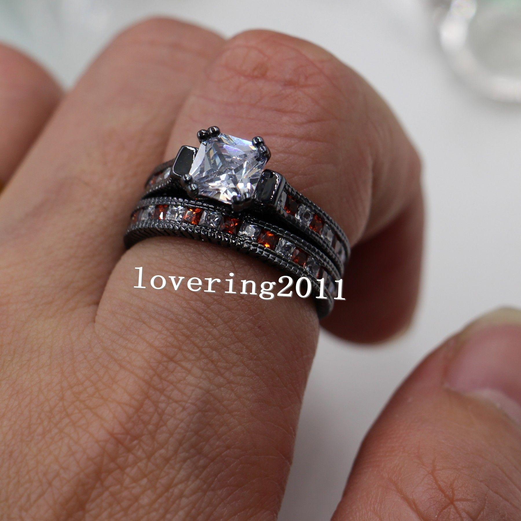Größe 5-11 retro modeschmuck 14kt schwarz gold gefüllt roter granat multi stein cz simuliert diamant frauen hochzeit verlobungsring set geschenk