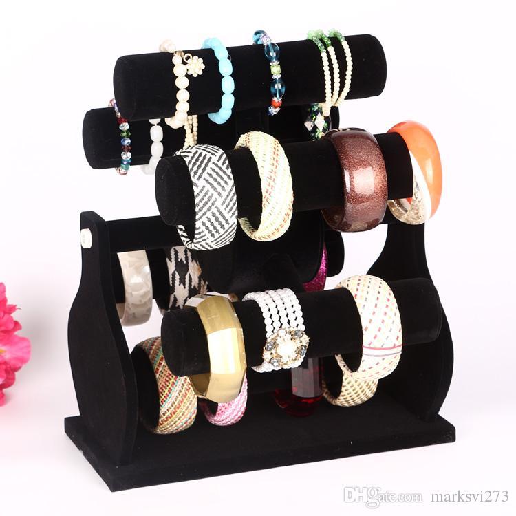 Zeslaag roterende zwarte fluwelen windmolen horloge armband armband opslag rack houder sieraden display stand sieraden teller showcase rekwisieten