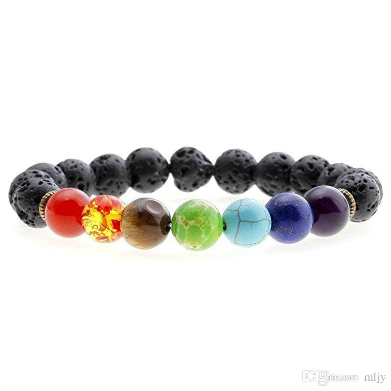 Moda 7 Chakra pulseira tigre olho vulcânico homens homens negros lava cura equilíbrio reiki oração pedra natural pulseira de ioga