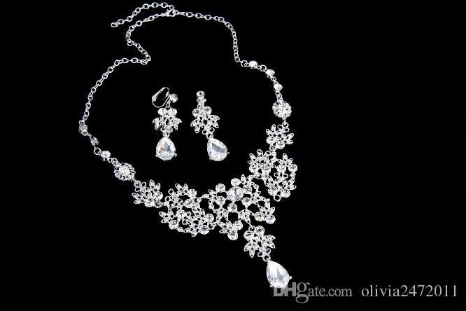 Ucuz Kristal Rhinestone Gümüş Kaplama TearDrop Şeklinde Kolye Küpe Set Gelin Gelinlik Balo Parti Takı Aksesuar ZM
