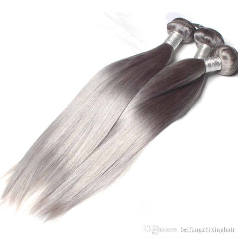 Brazilian Natural gray color hair Bundles Grey Human hair silky hair one donor easy to use 60g/Piecce&free DHL