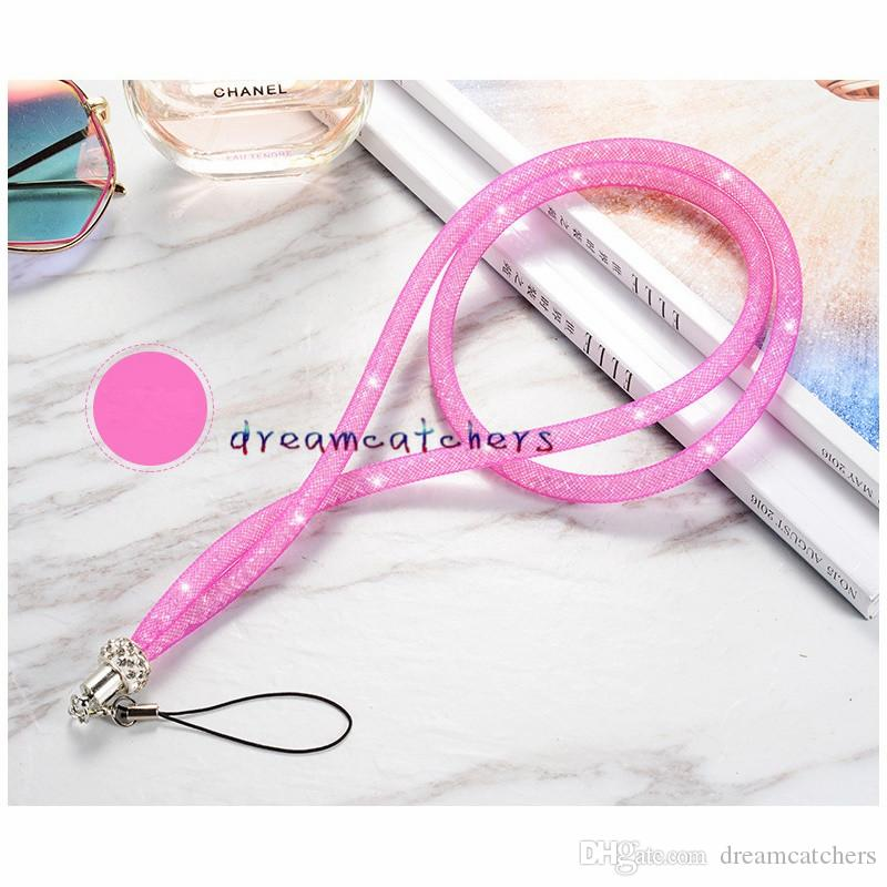 Bling Crystal Rhinestone Lanyard Diamond Hanging Luxury Rope Necklace String Neck Chain Sling Colorful for iphone ID Card Keychain Cellphone