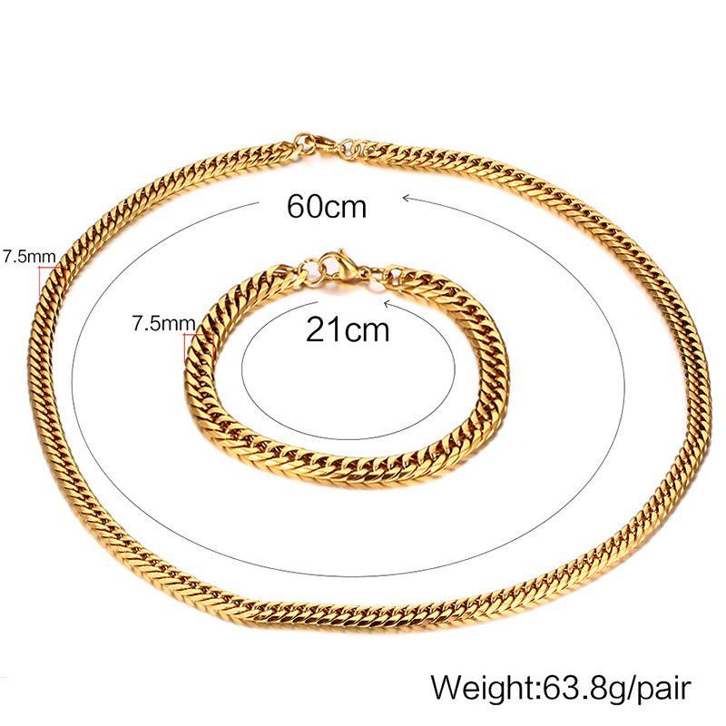 Chegada nova High Grade Popular dos homens Melhor Presente Aço Inoxidável 316L Fechar Curb Chain link Colar + pulseira Conjunto de Jóias