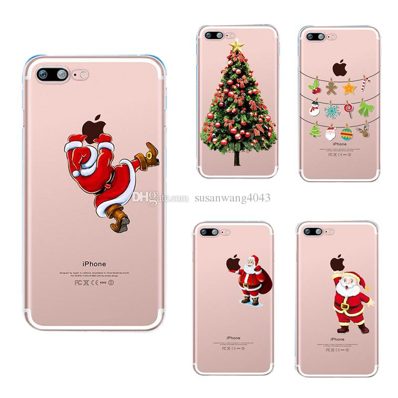 best website ba773 93381 Christmas phone case for iphone X 8 7 6 6s plus 5s S7 S8 note 5 J3 P10 soft  TPU cover painting defender cases Santa Claus Shell Gift GSZ399