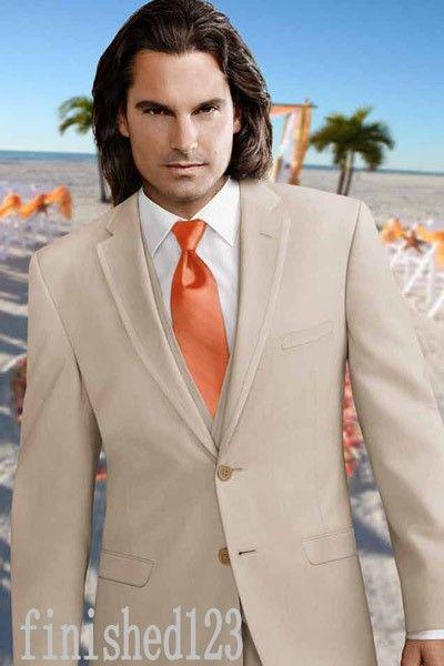 유행 두 단추 베이지 신랑 턱시도 노치 옷깃 Groomsmen 최고의 남자 웨딩 댄스 파티 정장 자켓 + 바지 + 조끼 + 넥타이 G5183