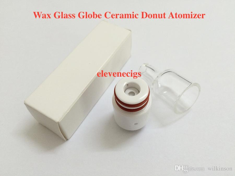 wax atomizer ceramic donut wickless wax attachment 510 wax vape pen atomizer e cigarette glass globe cover tank for box mod