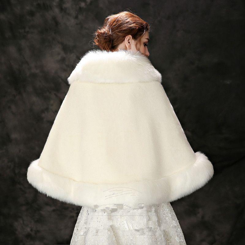 Jane Vini Beige Bridal Cloak Faux Fur Wraps And Shawls Shrug Bolero Coat With Crystal For Winter Wedding Bride Bridesmaid Stoles 2018 New