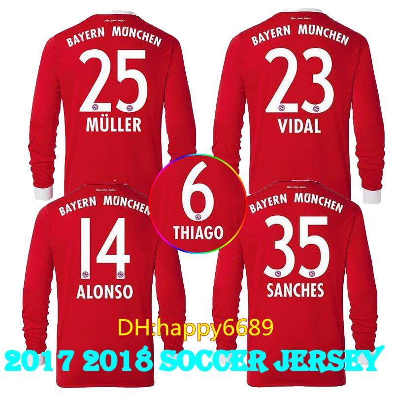 2018 wholesale new 2017 18 long sleeve james home soccer jersey 17 18 vidal coata lewandowski muller