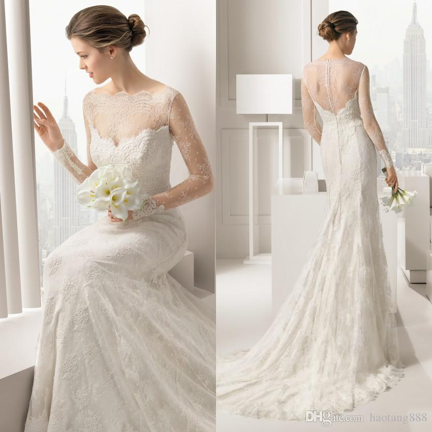 Bon Discount 2015 Vintage Wedding Dress Long Sleeves Wedding Gown A Line Beads  Bateau Hollow Back Sweep Train Lace Wedding Gown Fx0130 Monique Lhuillier  Wedding ...
