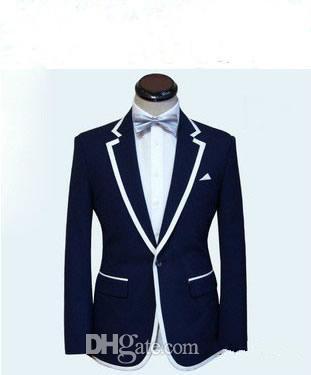 Abito uomo su misura, uomo bianco blu smoking uomo smoking giacca + pantaloni + cravatta + tasca