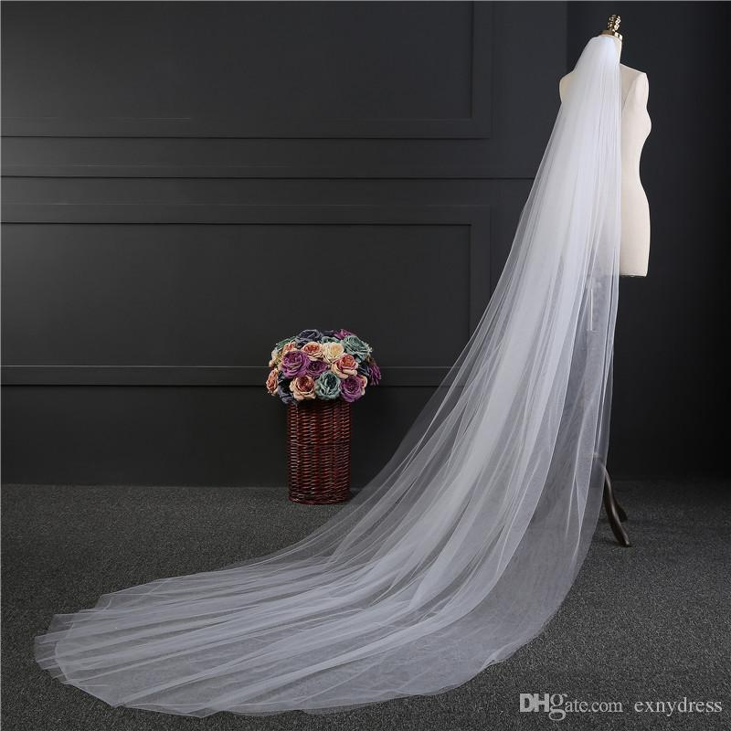 Cheap Wedding Veil With Comb Lady Hot Sale Cathedral Bridal Veils Long Train And Combs For Bride 3m Meters Two Layers Discount
