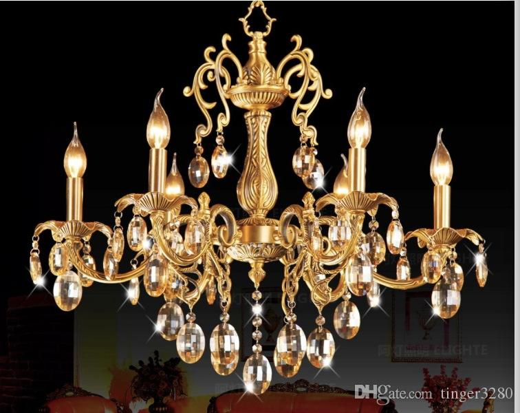 D680mm H650mm 6 Heads Brass Pendant Lamp, Antique Brass Chandelier, Vintage Total Copper Glass AC 100% Guaranteed