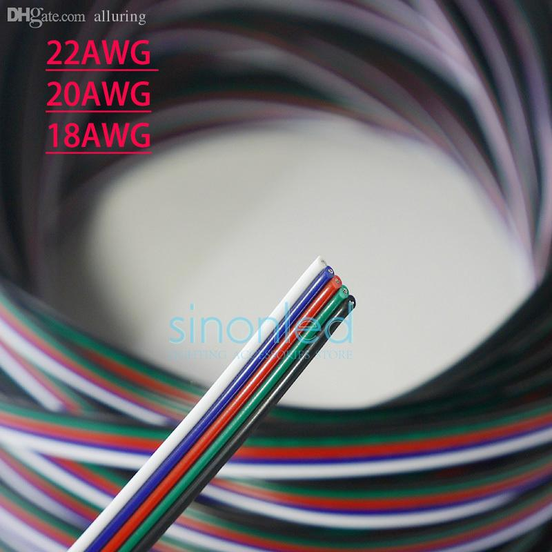 Wholesale 10m/20m/50m 5pin 22awg/20awg/18awg Extension Wire Cable ...