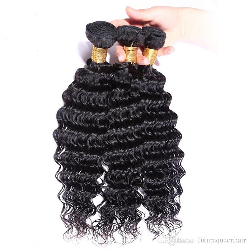 6A 3/4 Bundles Brazilian Deep Wave Virgin Hair 100g/pc Grace Hair Products Virgin Brazilian Peruvian Curly Hair 100% Deep Weave Human Hair