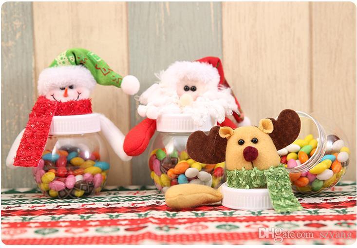 Рождество коробка конфет Xmas Лось Санта Снеговик медведь куклы Топпер ясно сладкие коробки контейнер дети Новый год подарок Wrap party decor
