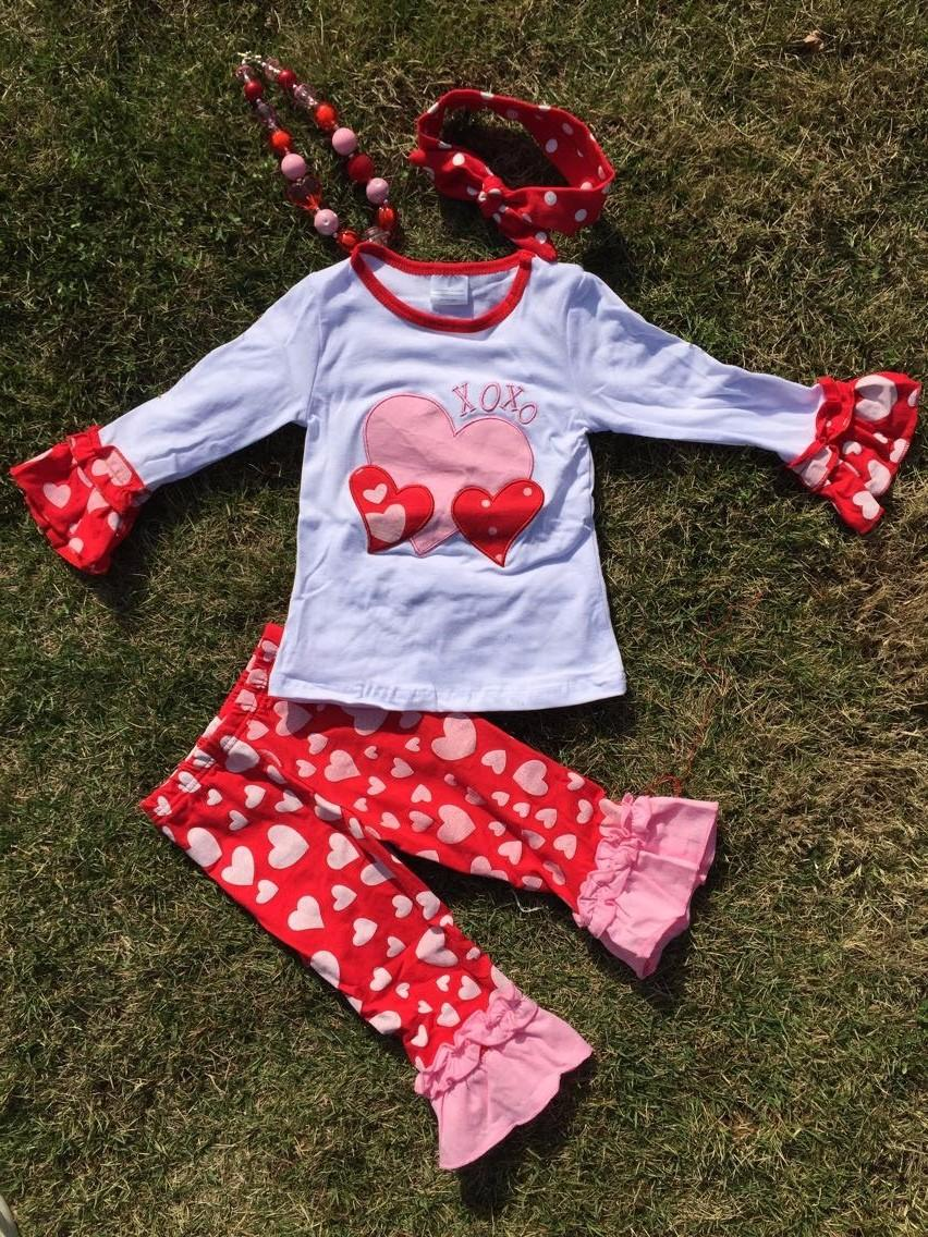 Cheap Baby Clothes Valentine Outfit Hot Sell Design Kids Boutique Cute  Heart Girls Ruffle Pant With Necklace And Headband Set