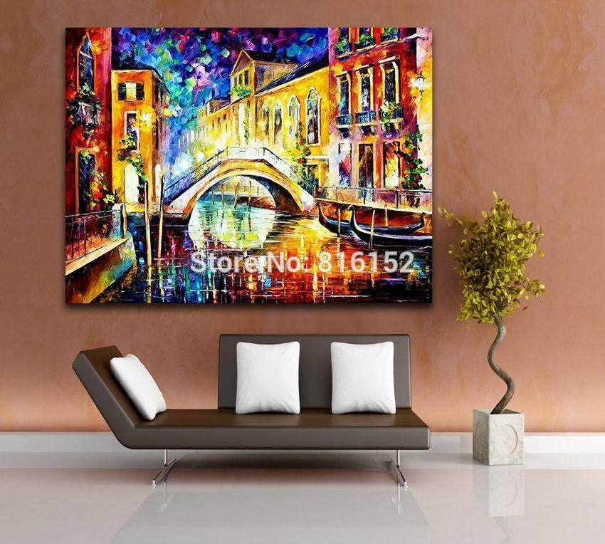 Palette Knife Oil Painting Arch Bridge Europe Style Night View Picture Printed on Canvas Mural Art for Home Living Room Wall Decor